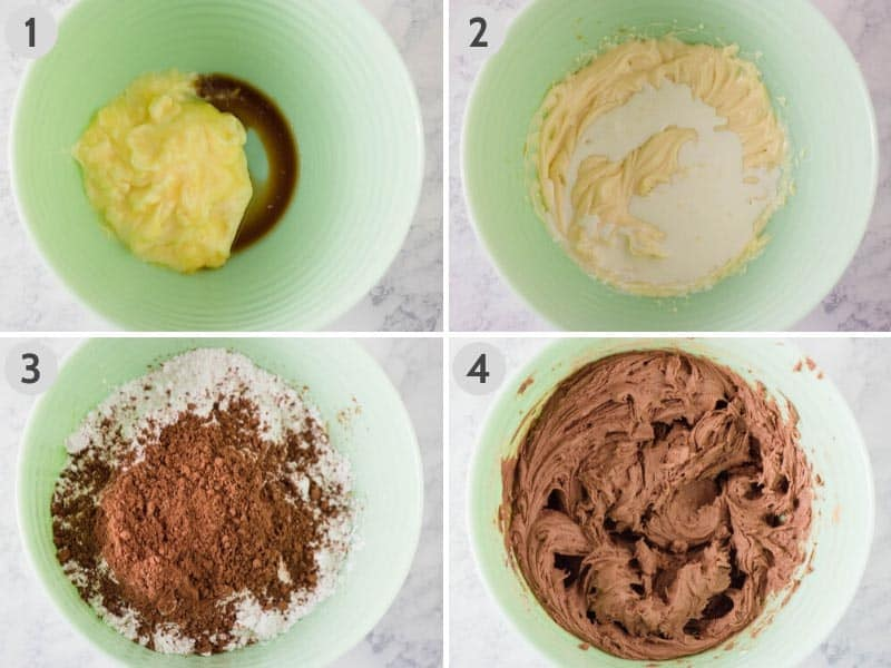 steps for how to make chocolate buttercream frosting in mint green mixing bowl: 1. mixing together softened butter, vanilla extract, and almond extract; 2. mixing in heavy whipping cream; 3. adding in powdered sugar and cocoa powder; and 4. smooth, creamy, chocolate buttercream frosting