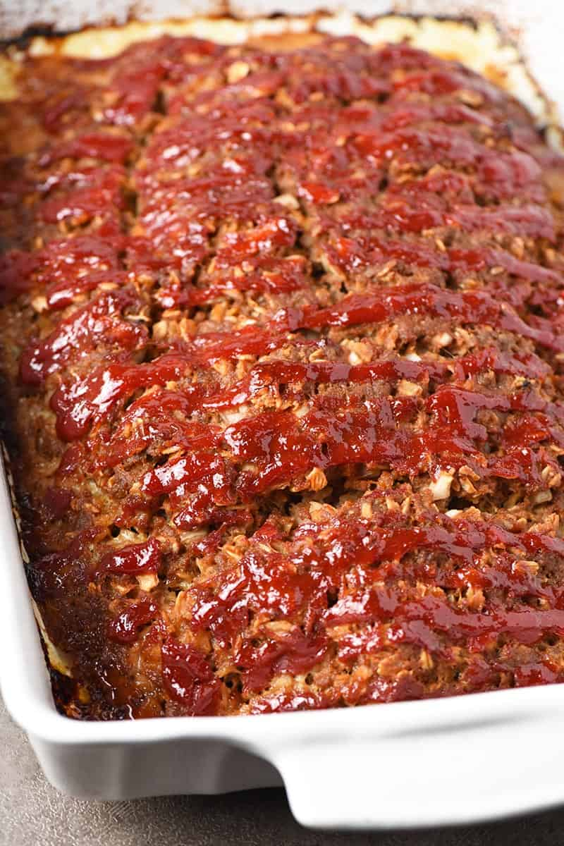 meatloaf with oatmeal baked in white baking dish