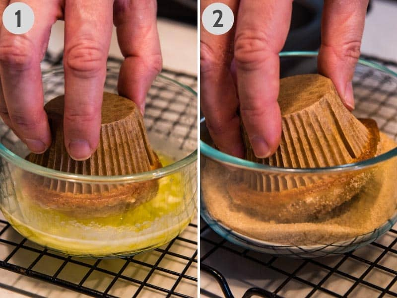 dipping tops of Bisquick muffins in melted butter in Pyrex glass bowl, then in cinnamon sugar in Pyrex glass bowl