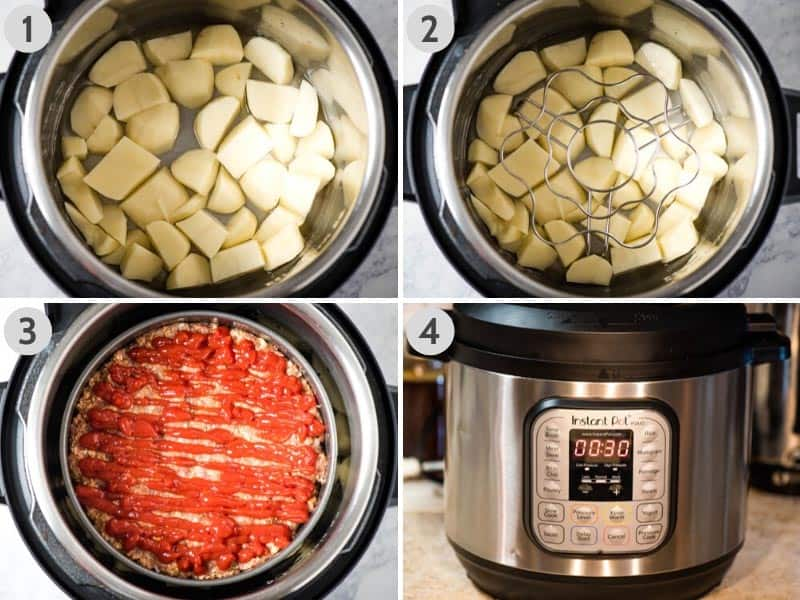 cooking meatloaf and potatoes in Instant Pot using trivet and springform pan