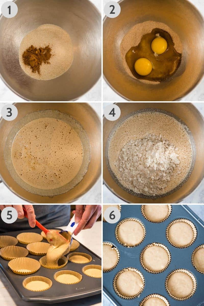 how to make Bisquick muffins, adding sugar, cinnamon, eggs, milk, vanilla, and Bisquick mix to KitchenAid mixing bowl, then scooping batter into muffin tin with cupcake scoop