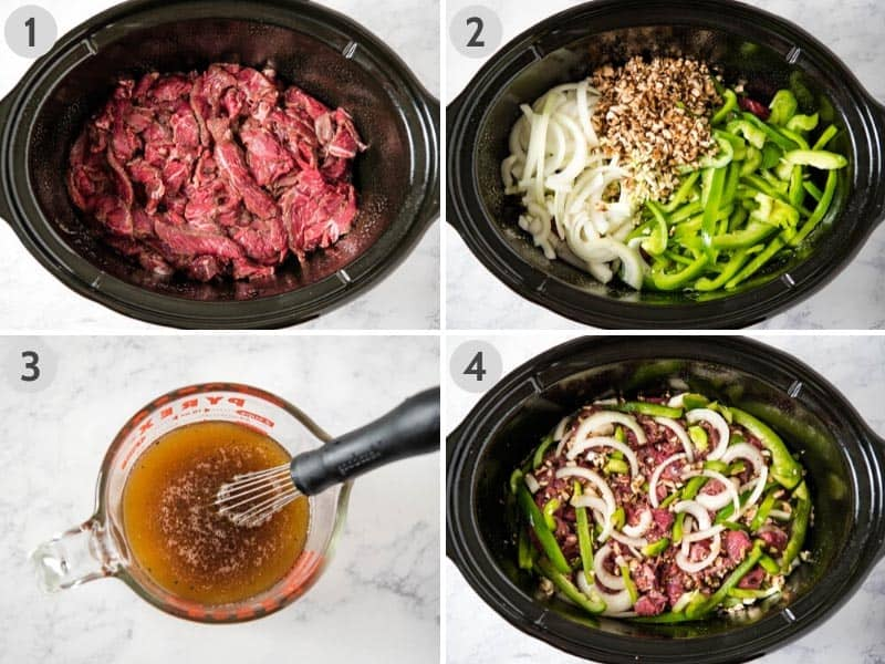 how to make Philly cheese steak in a black Crock pot by layering steak, vegetables, whisking up broth, and pouring over the vegetables and meat
