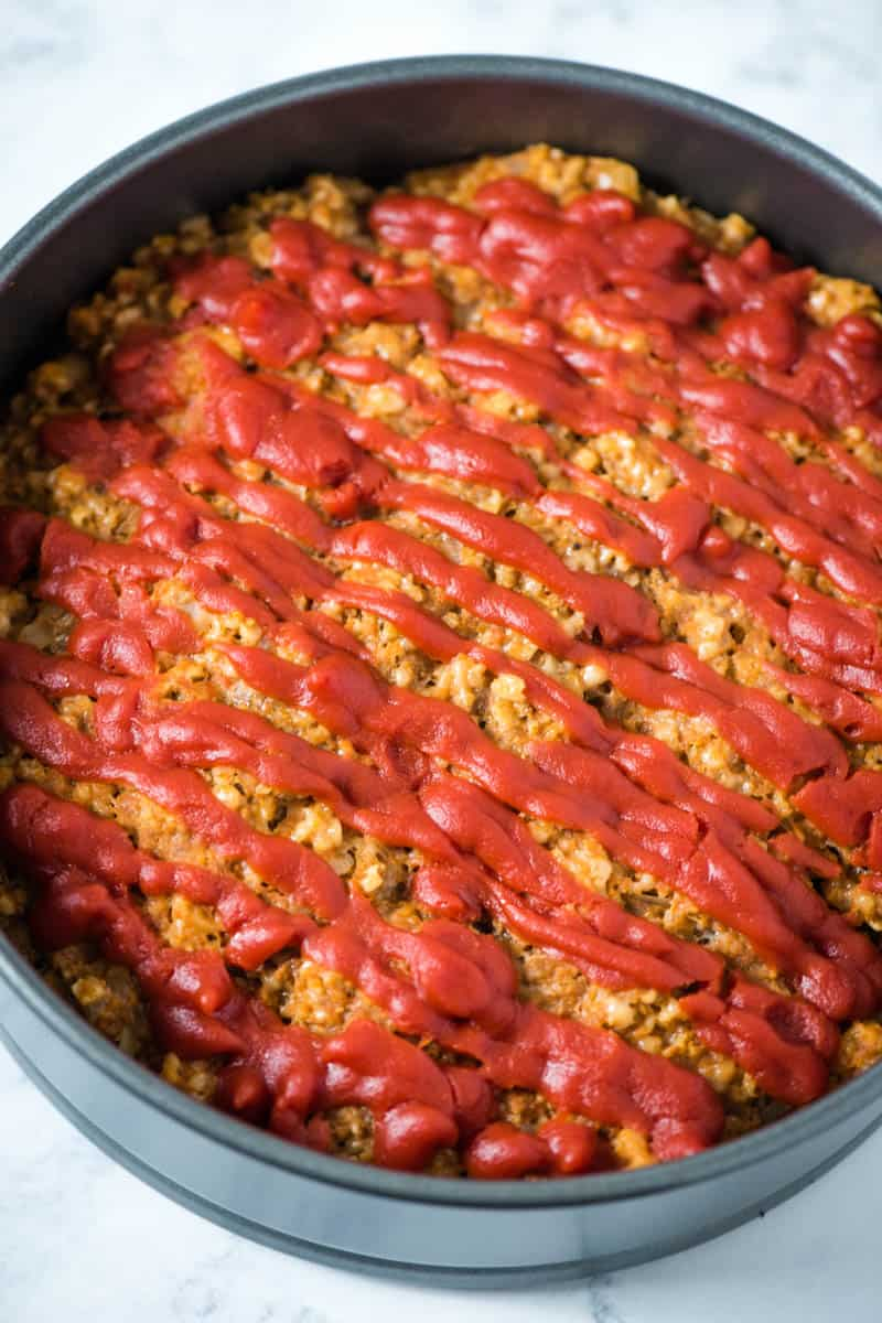 cooked pressure cooker meatloaf in springform pan