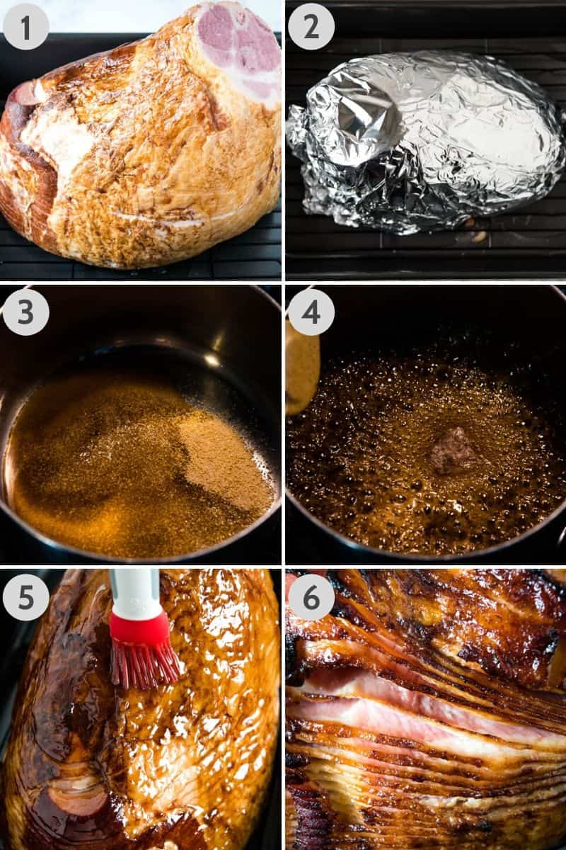 steps for how to cook a ham in the oven, using roasting pan, and how to glaze the ham with a basting brush