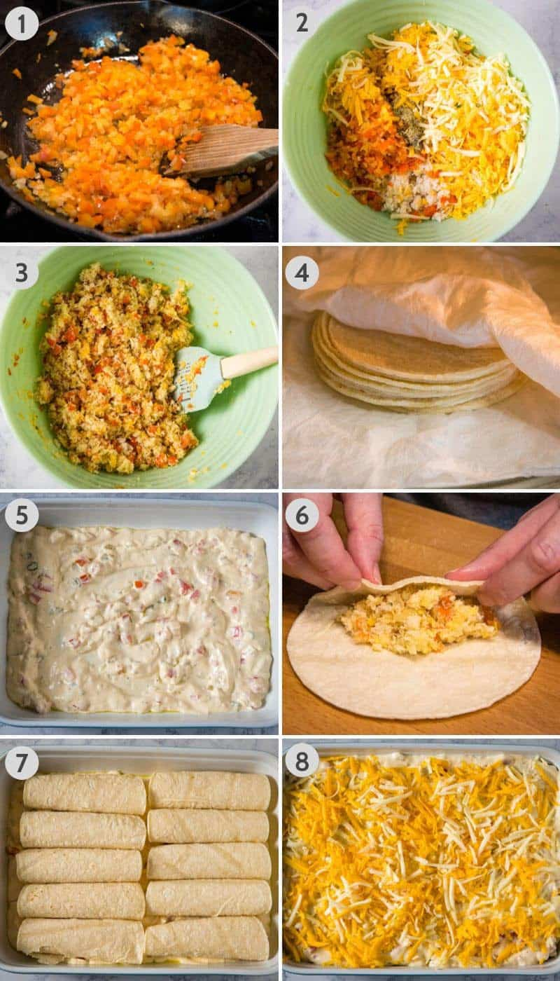 how to make and assemble crab enchiladas with white sauce in baking dish