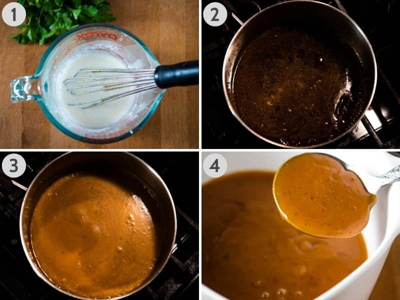 steps for how to make ham gravy with cornstarch