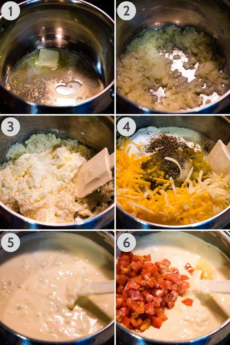 how to make a sour cream white sauce for enchiladas, by melting butter in saucepan, sautéing onion, adding cream cheese and other ingredients, along with fresh tomatoes