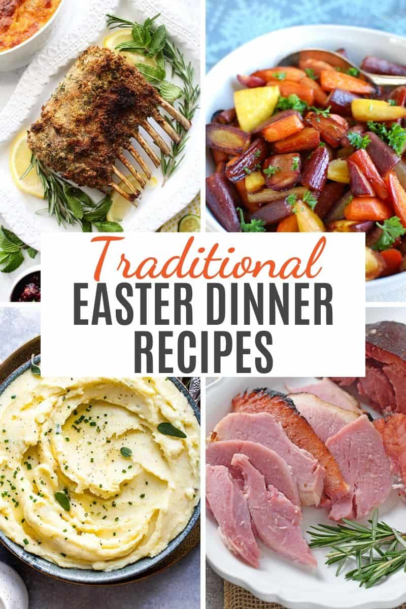 traditional Easter dinner recipes, including rack of lamb, rainbow carrots, mashed potatoes, and pineapple honey glazed ham