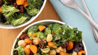 Crunchy Kale Broccoli Salad with Cranberries and Macadamia Nuts