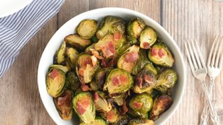Roasted Brussels Sprouts with Bacon {w/ a secret tip!}
