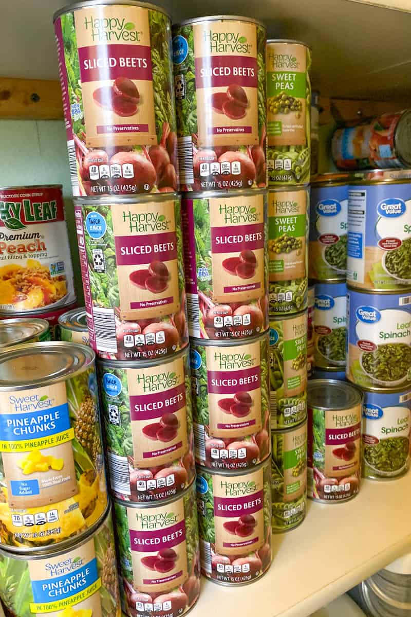 emergency food supply, including canned vegetables, canned fruit, and more