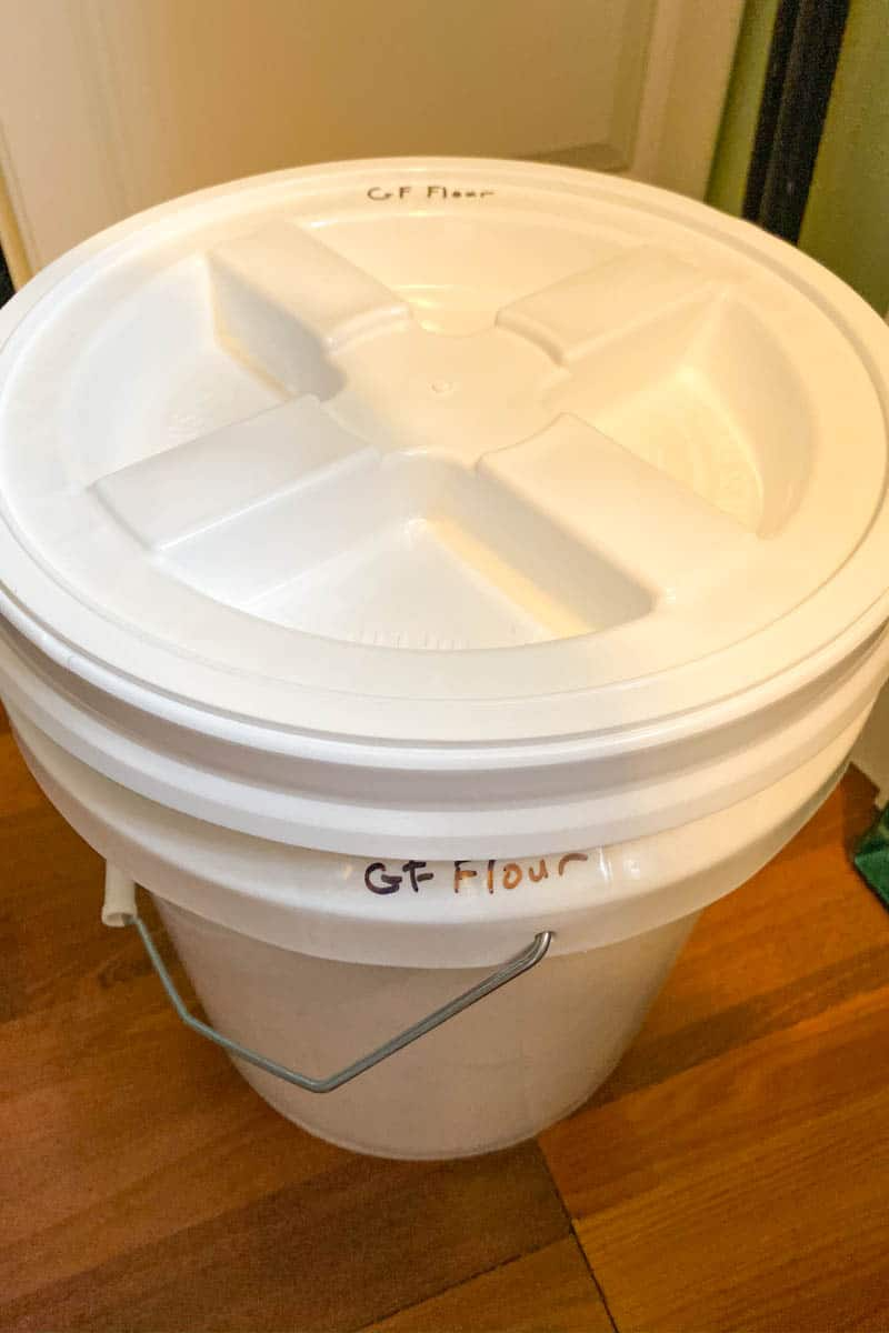 white food grade bucket with gamma lid for gluten-free flour