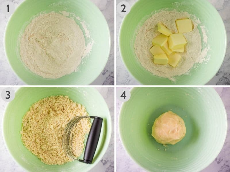 how to make a pie crust in a green bowl with flour, salt, butter, and milk, using a pastry blender or pastry cutter