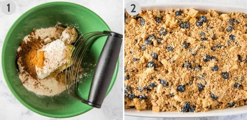 how to make a cinnamon streusel topping in a green bowl with a pastry blender and sprinkle it on top of a blueberry French toast casserole in white baking dish
