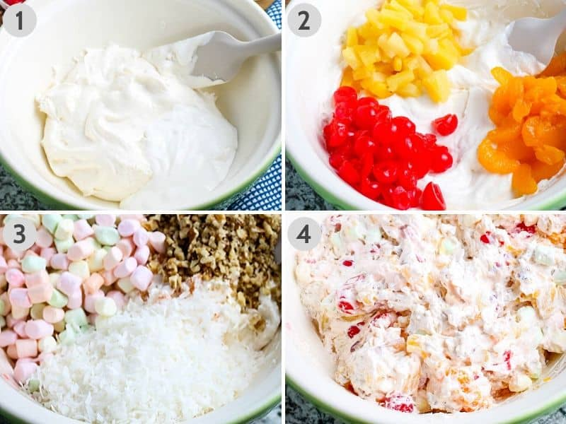 steps for how to make ambrosia, including mixing whipped cream, sour cream fruit, mini marshmallows, walnuts, and coconut in large green bowl