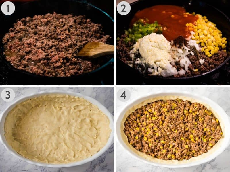 how to make Mexican meat pie, from browning hamburger meat in cast iron skillet, to adding corn, peppers, and cornmeal, to pressing the pie crust in white casserole dish, and adding beef mixture to pie crust