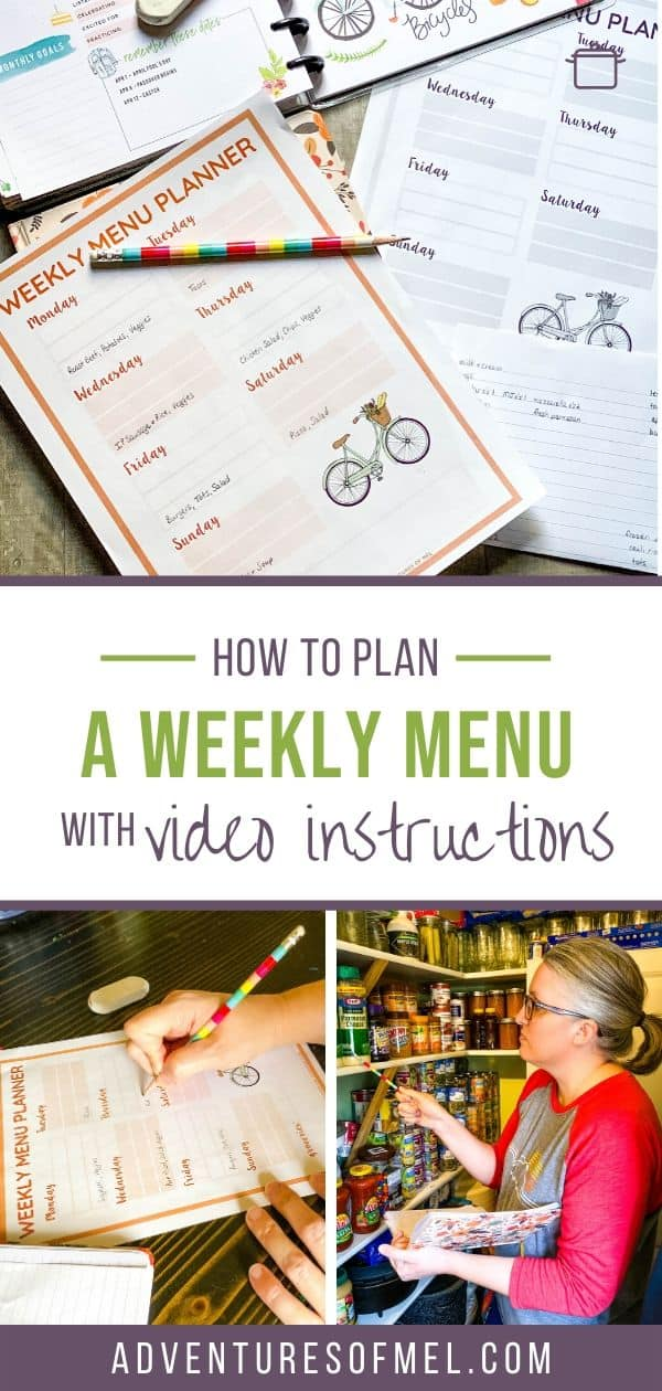 how to plan a weekly meal plan, weekly menu planner printable, and woman in pantry taking inventory of stock