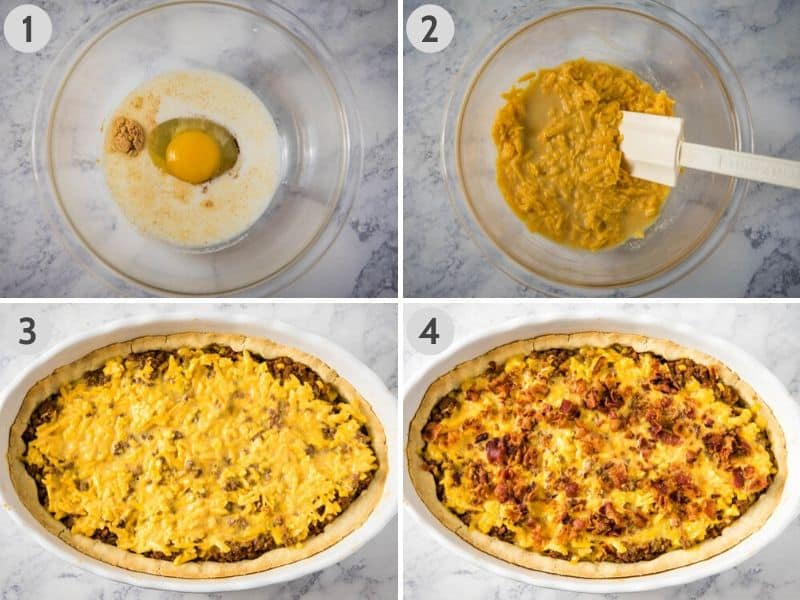 mixing together egg, milk, dry mustard, salt, Worcestershire sauce, and cheese in glass bowl and spreading topping over Mexicali meat pie in white casserole dish