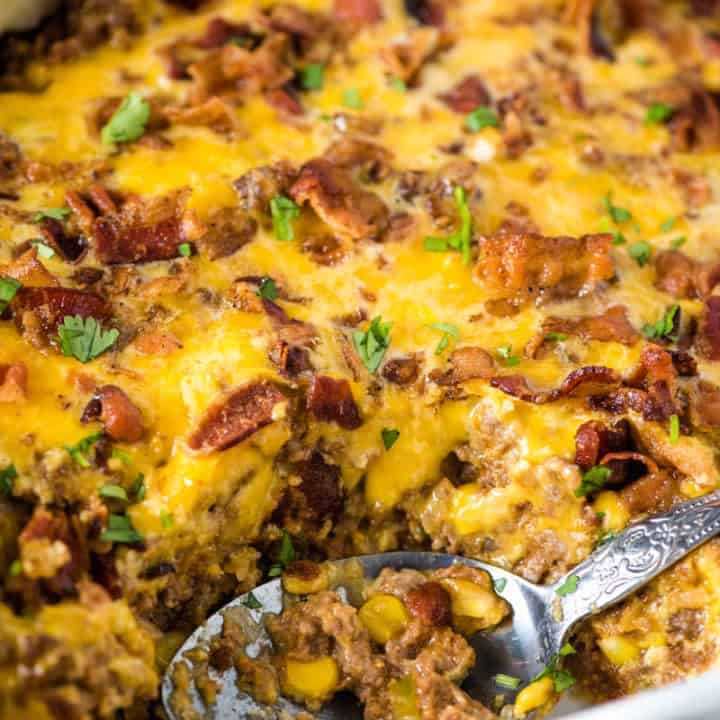 Cheesy Mexican Meat Pie with Bacon