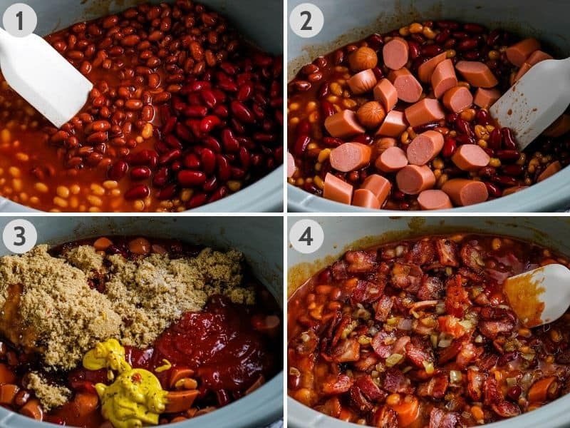 steps for how to make CrockPot baked beans in gray slow cooker, including adding beans, hot dogs, condiments and seasonings, and bacon and onions