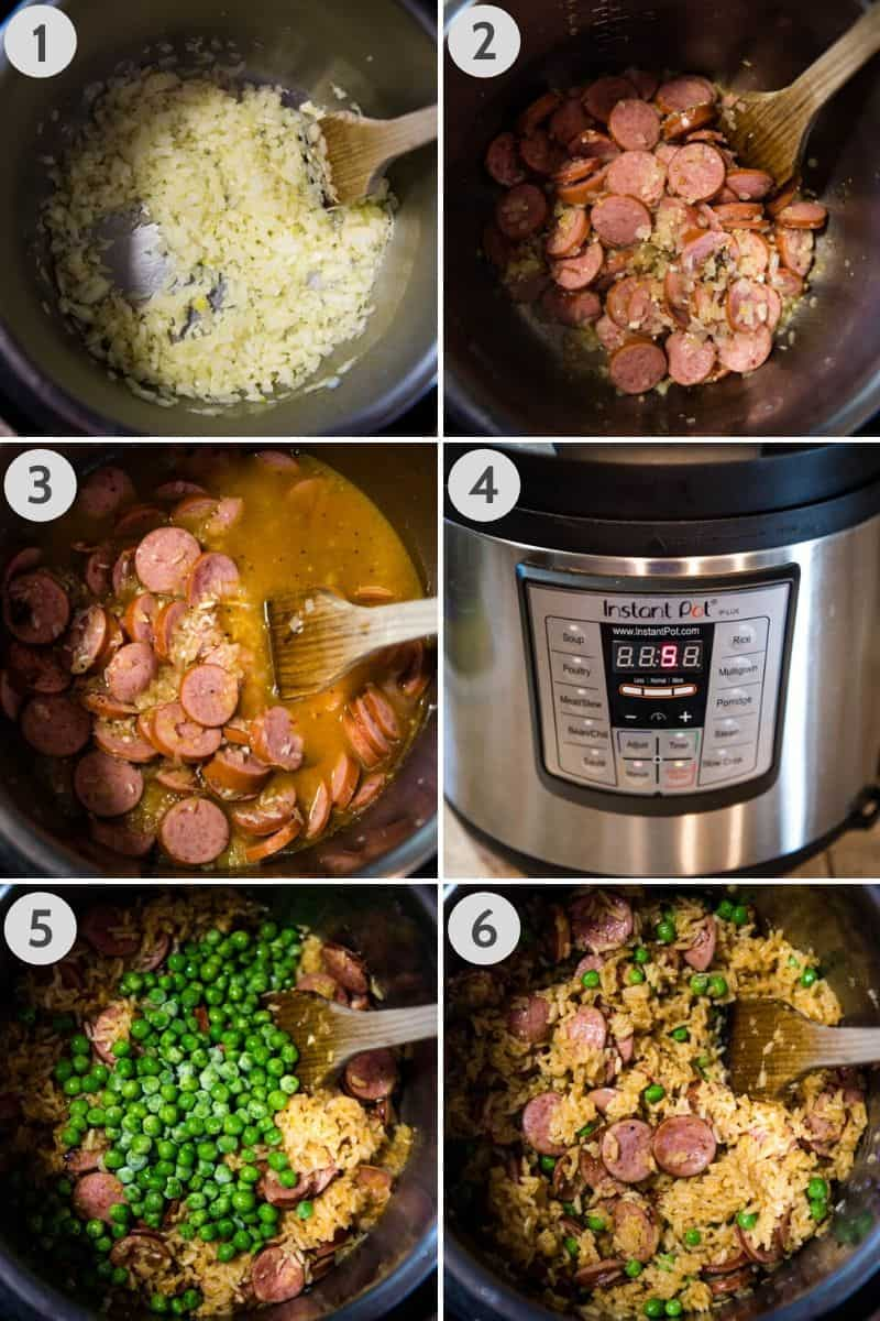 steps for how to make Instant Pot kielbasa and rice in Instant Pot, first sautéing onions and garlic, then adding sliced sausage, then adding in chicken broth and rice, pressure cooker set to 5 minutes cook time, adding in peas, and fluffing rice after cooked