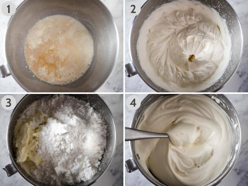 4 steps for making Dream Whip cream cheese filling in metal KitchenAid mixing bowl, including whisking Dream Whip with milk and vanilla; whisking to soft peaks; adding cream cheese and powdered sugar to the Dream Whip mixture; and finished velvety smooth filling