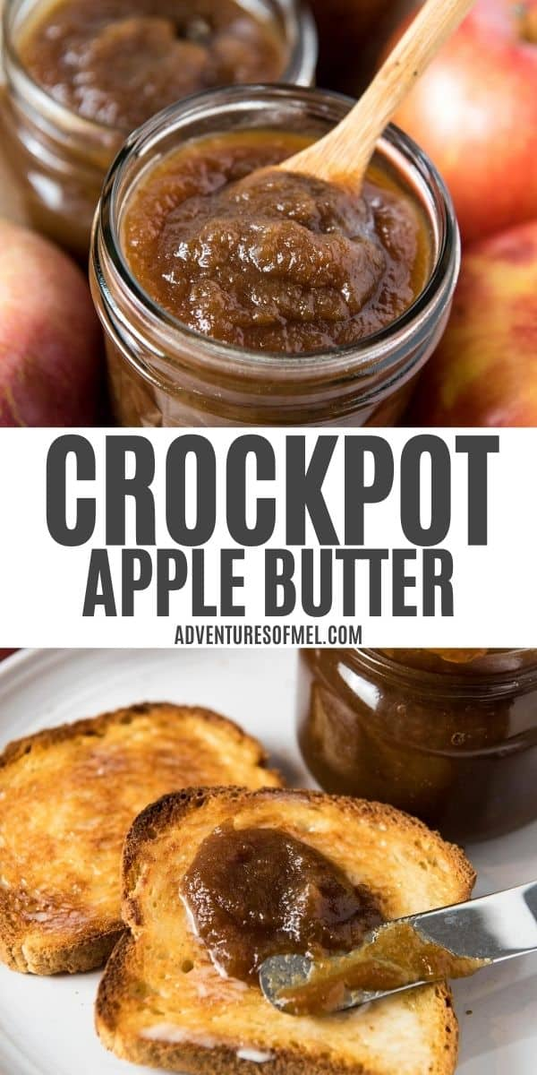 double image of CrockPot apple butter with text, including top image of apple butter in jar with small wooden spoon and bottom image of slow cooker apple butter spreading on toast with butter knife