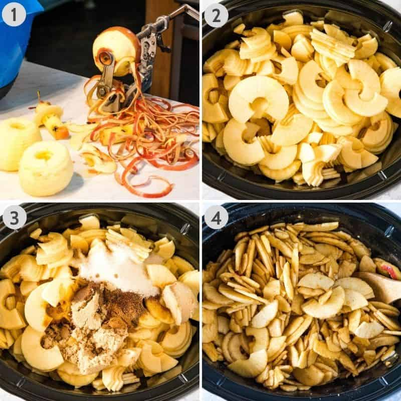 steps for how to make apple butter in a CrockPot, including coring, peeling, and slicing the apples; placing apples in slow cooker; adding ingredients with apples; and stirring everything together in CrockPot