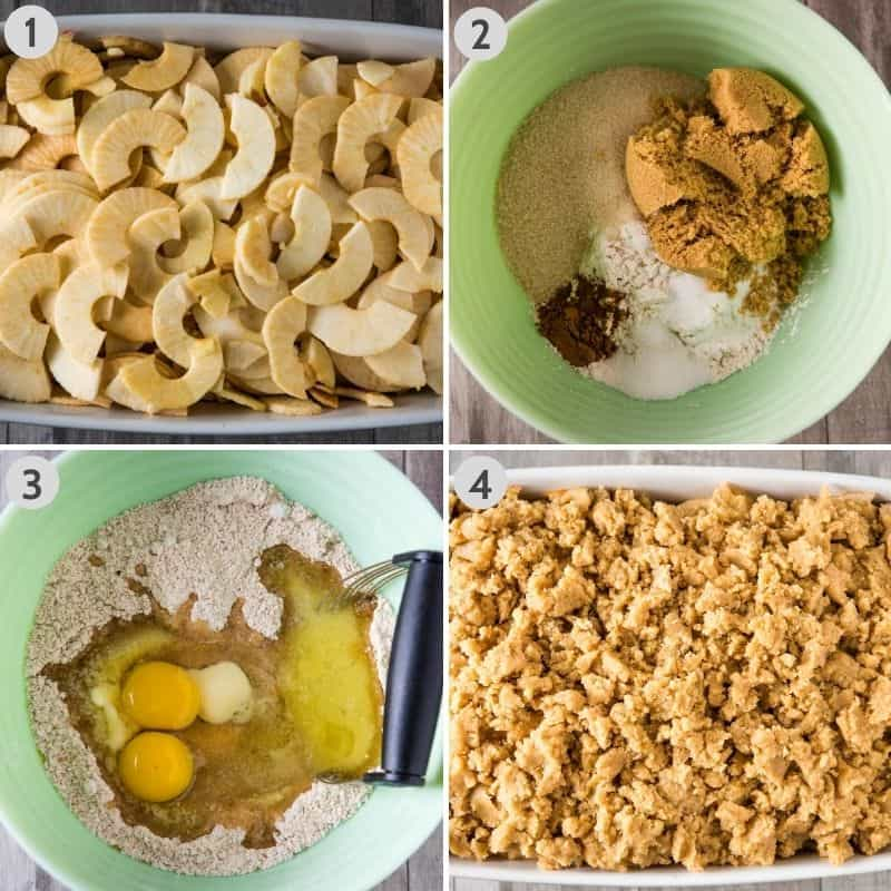 steps for how to make apple crumble without oats, including adding sliced apples to white baking dish, mixing dry ingredients together in mint green mixing bowl, blending eggs and melted butter with dry ingredients in mint green mixing bowl, and crumbling topping over apples in white casserole dish