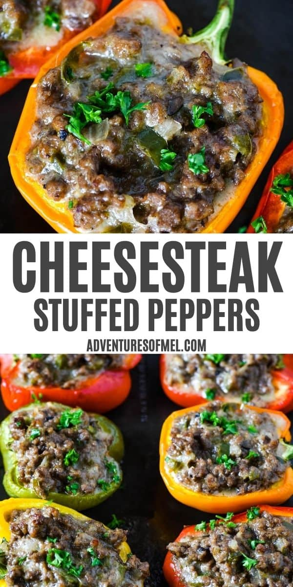 double image of Philly cheesesteak stuffed peppers ground beef style, with top image of stuffed orange bell pepper and bottom image of colorful cheesesteak stuffed peppers, sprinkled with parsley, on baking sheet