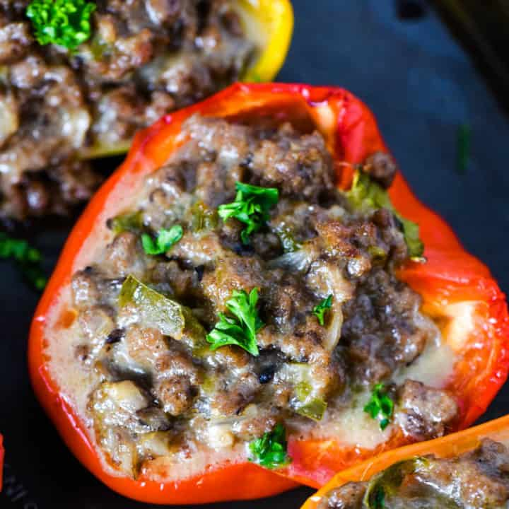 Philly Cheesesteak Stuffed Peppers Ground Beef Style