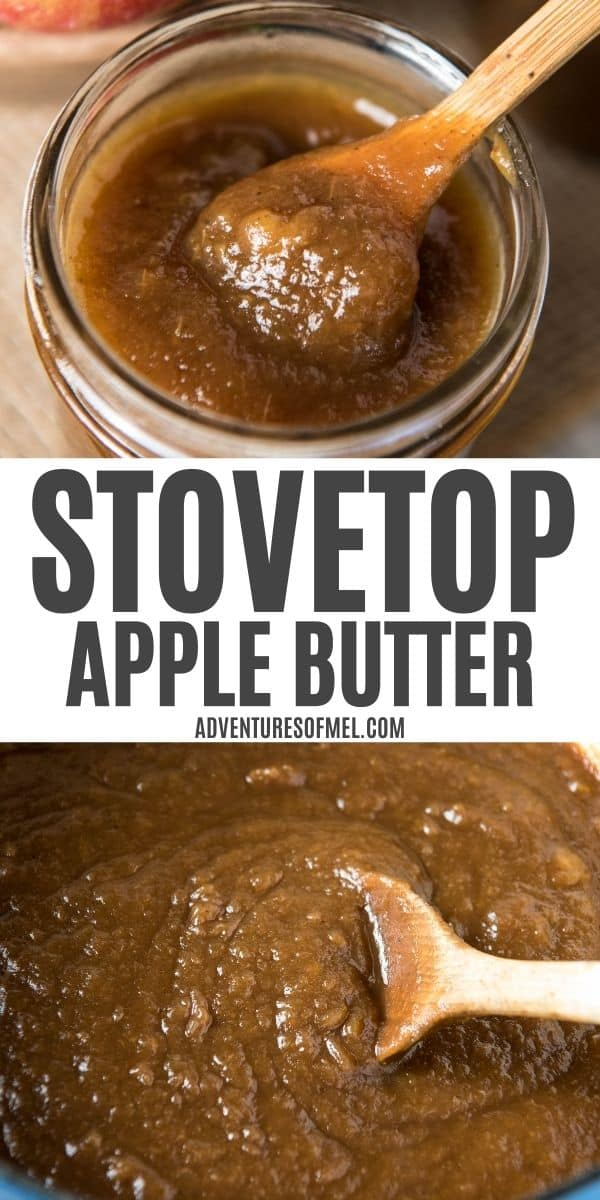 double image of stovetop apple butter with top image of small wooden spoon in jar of apple butter and bottom image of wooden spoon stirring homemade apple butter in blue Dutch oven