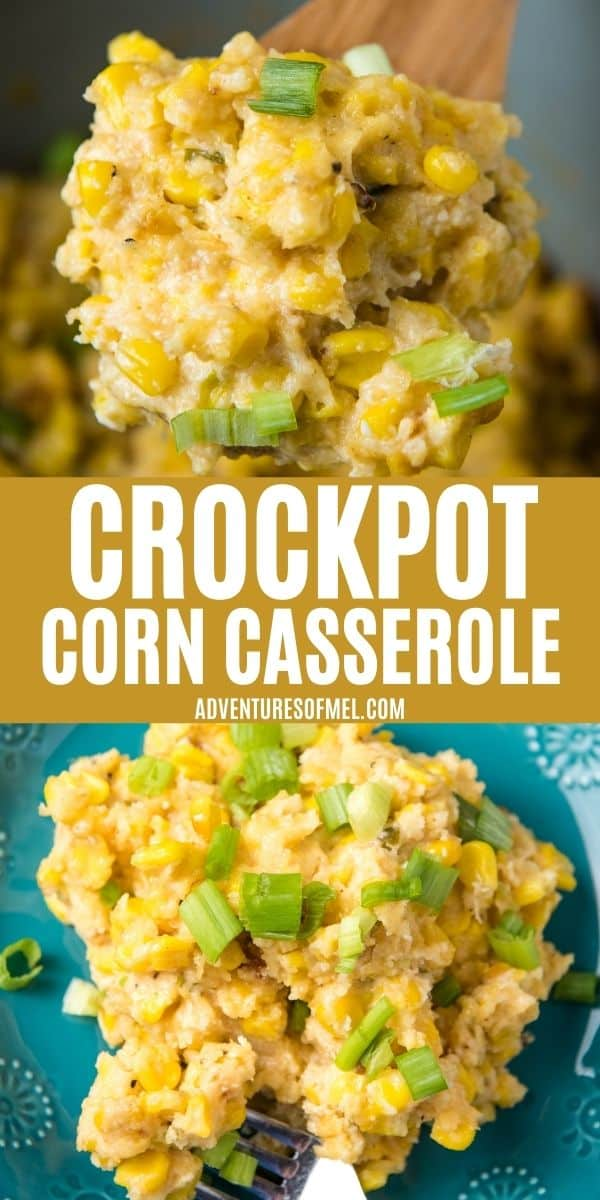 double image of CrockPot Corn Casserole, including top image of scoop of corn casserole on wooden spoon and bottom image of serving of slow cooker corn casserole on teal plate with fork