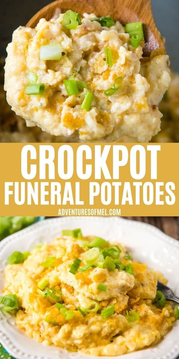 double image of CrockPot Funeral Potatoes recipe, including top image of wooden spoon full of funeral potatoes and bottom image of white plate full of CrockPot cheesy hashbrowns sprinkled with green onions