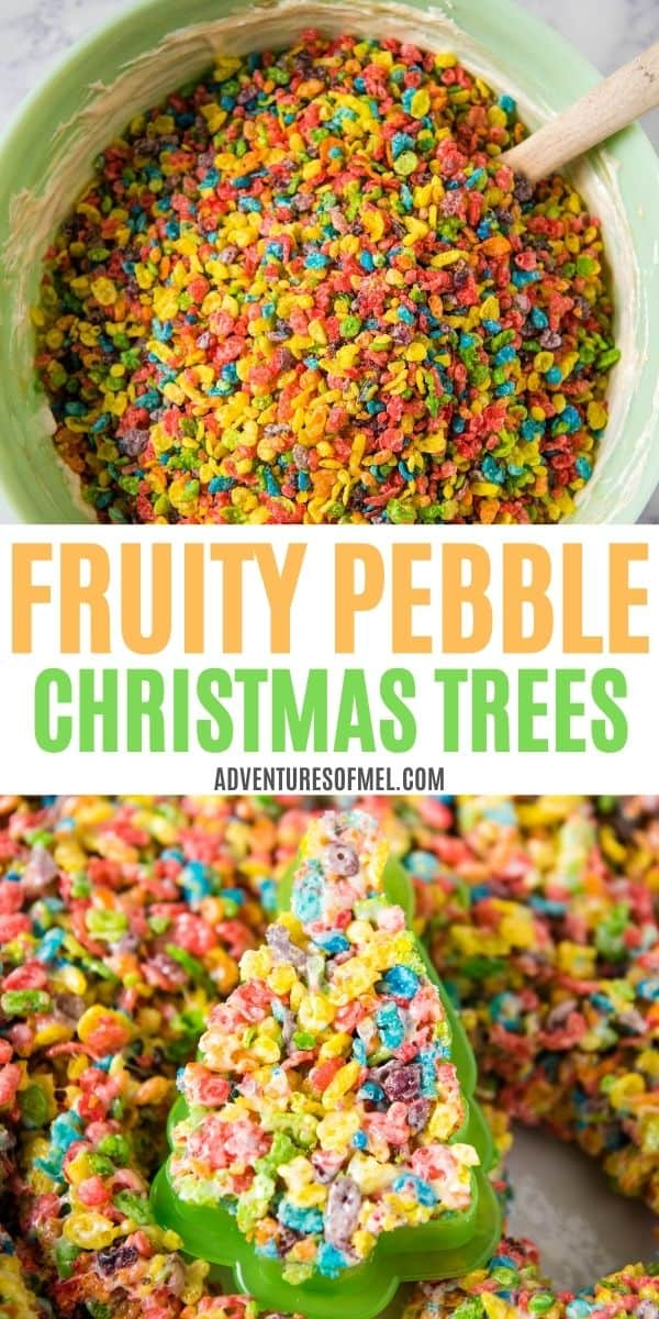 double image of Fruity Pebble Christmas trees, including top image of mint green bowl with Fruity Pebbles cereal and marshmallow mixture, and bottom image of cookie cutter with Fruity Pebbles Christmas tree shape cut out of pan full of crispy treats