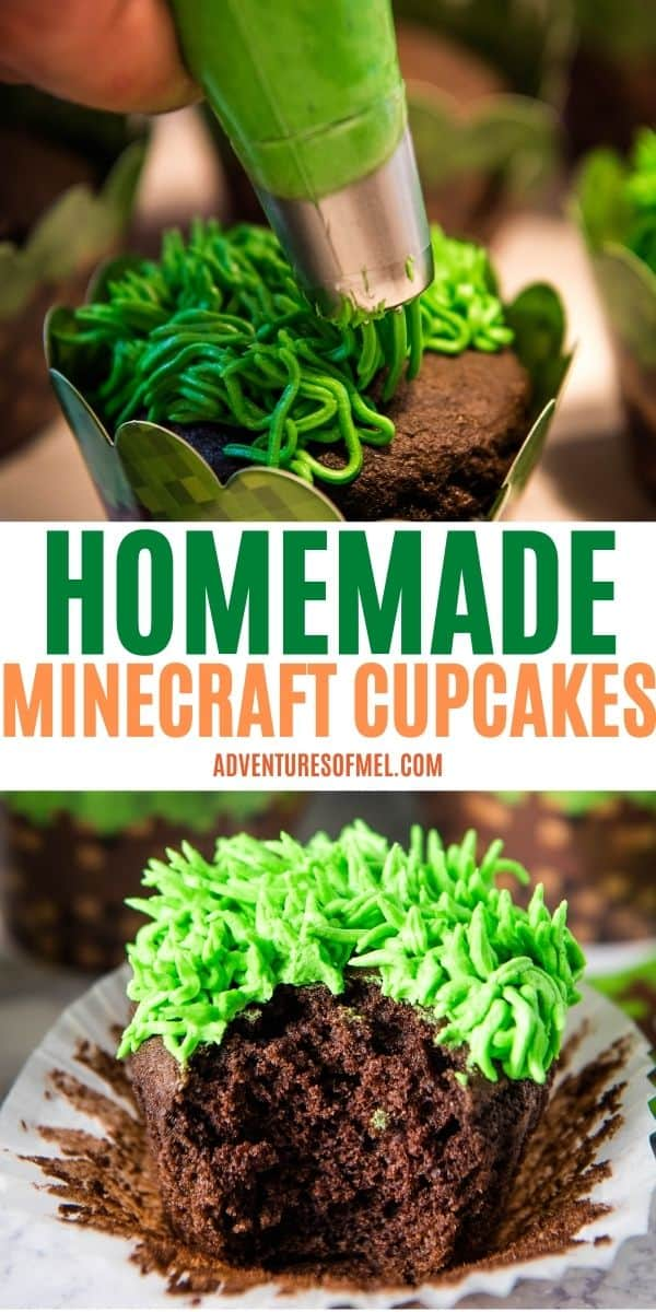 double image of Minecraft cupcakes recipe with top image piping grass frosting onto top of chocolate cupcake with grass cake tip, text saying Homemade Minecraft Cupcakes, and bottom image of bite out of chocolate Minecraft cupcake on white cupcake liner