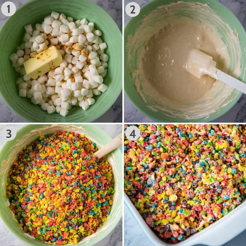 steps for how to make Fruity Pebble treats, 1. adding marshmallows, butter, and vanilla to large microwave-safe mint green bowl, 2. melting mixture in mint green bowl, 3. adding Fruity Pebbles cereal, and 4. spreading mixture in baking dish