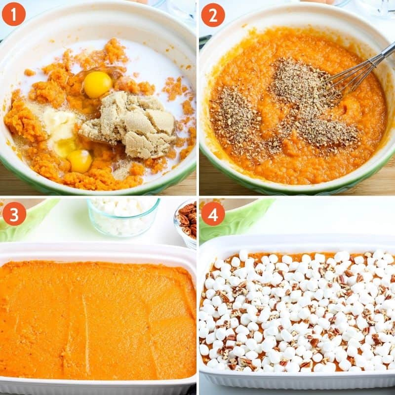 steps for how to make sweet potato casserole from scratch, including mixing ingredients in green mixing bowl, whisking pecans into sweet potato mixture, layering sweet potato mixture in white baking dish, and sprinkling mini marshmallows and chopped pecans on top of casserole