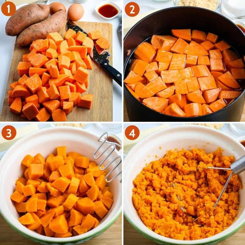 4 steps for how to prepare the sweet potatoes for homemade sweet potato casserole, including cubing sweet potatoes, adding them to large black stock pot and covering with water, placing cooked sweet potatoes in large green mixing bowl, and mashing sweet potatoes with potato masher