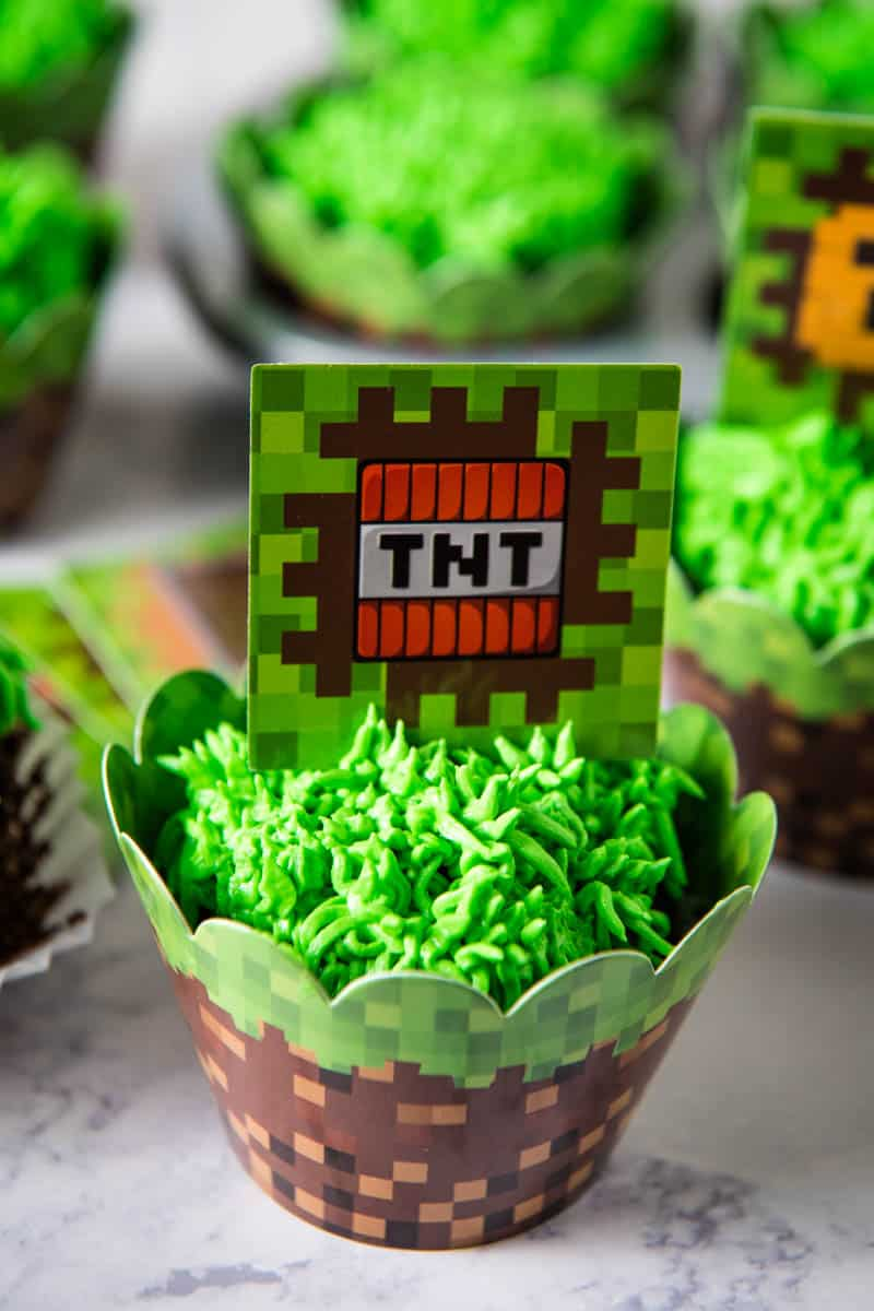 Minecraft TNT cupcake topper in Minecraft birthday cupcake