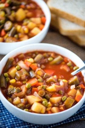Hearty V8 Vegetable Soup in the Slow Cooker