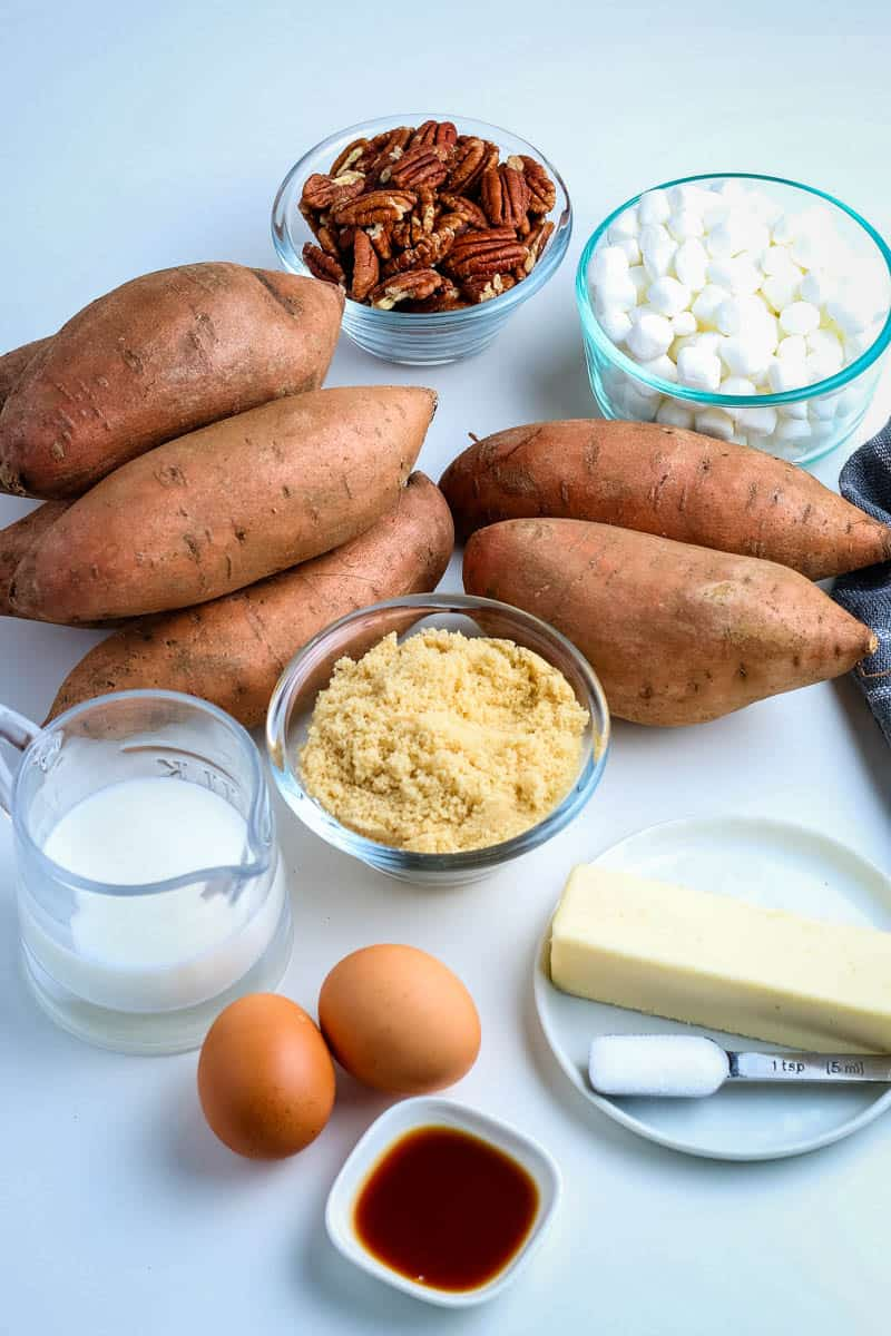 ingredients for sweet potato casserole on white countertop