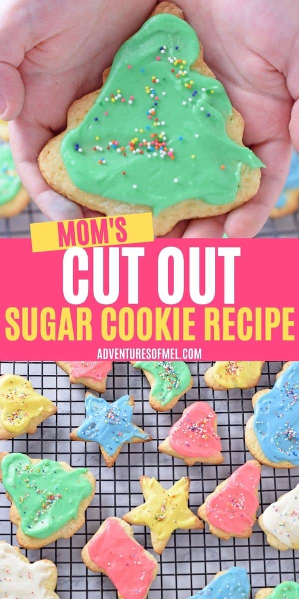 double image of Mom's cut out sugar cookie recipe, including top image of hands holding Christmas tree shaped sugar cookie decorated with green icing and rainbow nonpareils sprinkles, and bottom image of decorated Christmas cookies on black wire rack