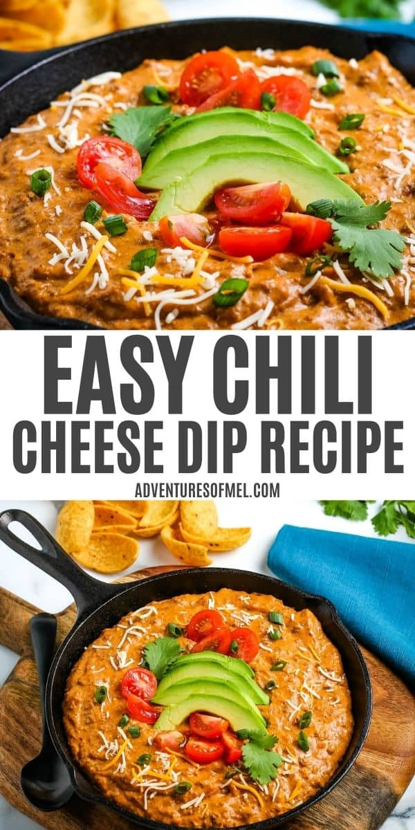 double image of easy chili cheese dip recipe, including top image of close up of chili dip, and bottom image of skillet full of chili and cream cheese dip, topped with fresh avocado, cilantro, and tomatoes