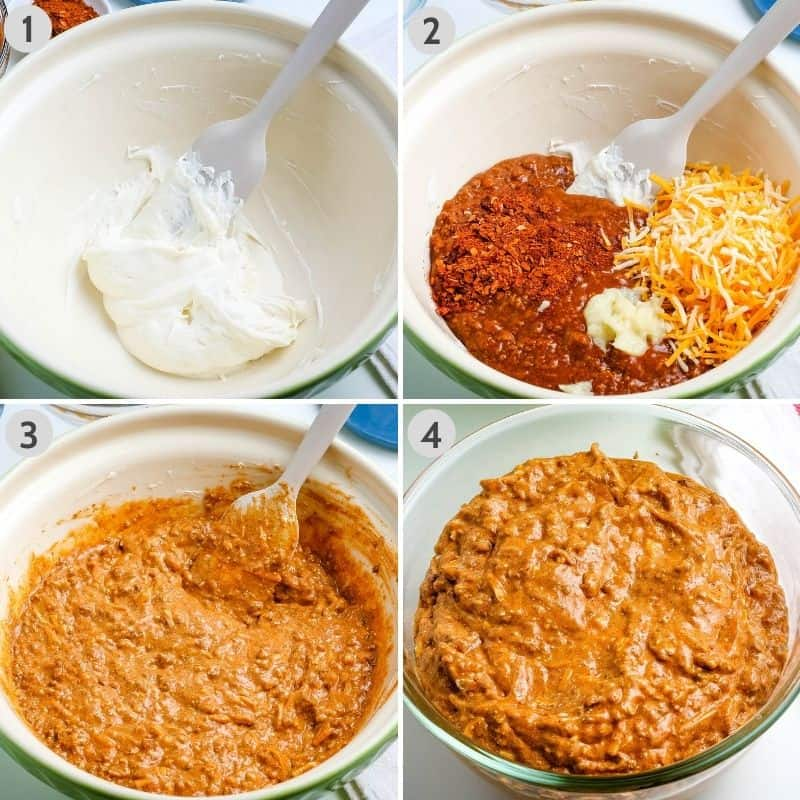 steps for how to make chili cheese dip in green mixing bowl, including 1: whisking cream cheese, 2: adding chili, taco seasoning, garlic, and cheese, 3: stirring everything together, and 4: transferring mixture to microwave-safe bowl.