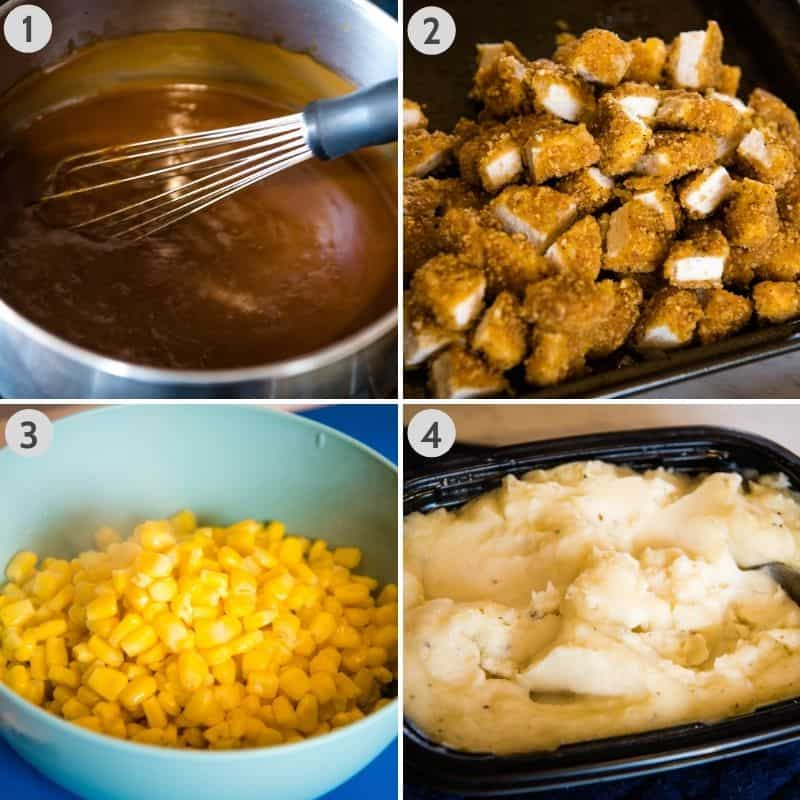 KFC potato bowl ingredients, including brown gravy, crispy chicken nuggets, corn, and mashed potatoes
