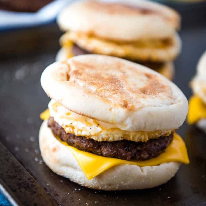 Homemade Sausage and Egg McMuffin with Cheese