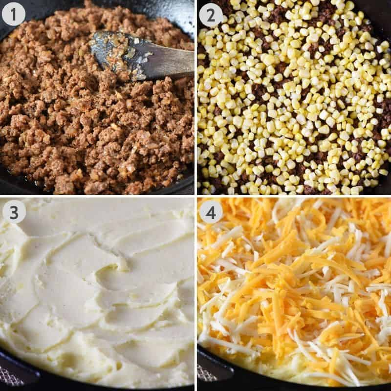 how to layer sloppy joe potato casserole with sloppy joe ground beef mixture, corn, mashed potatoes, and shredded cheese in cast iron skillet