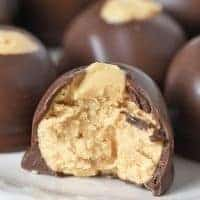 buckeye peanut butter ball on white plate
