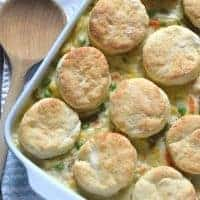 chicken pot pie with biscuits on top